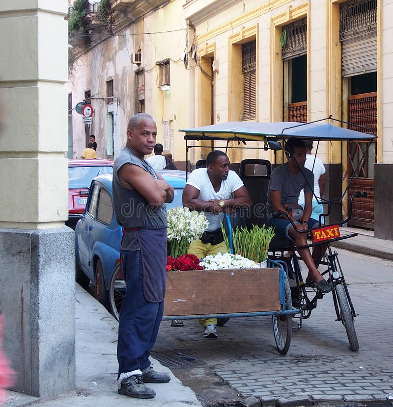 Caras do vendedor do carro da flor de Cuba fotografia de stock