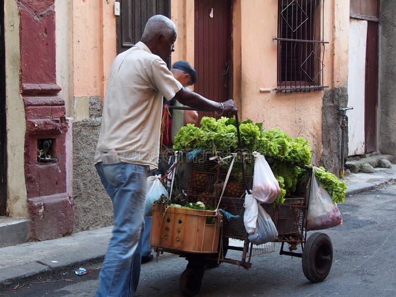 Caras do vendedor vegetal do carro de Cuba imagens de stock