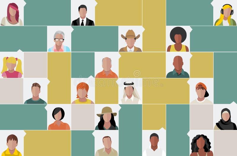 Caras dos povos dos desenhos animados ilustração do vetor