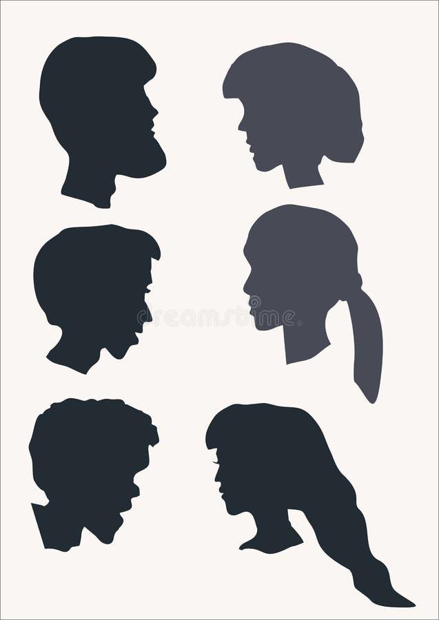 Caras dos povos no perfil imagens de stock