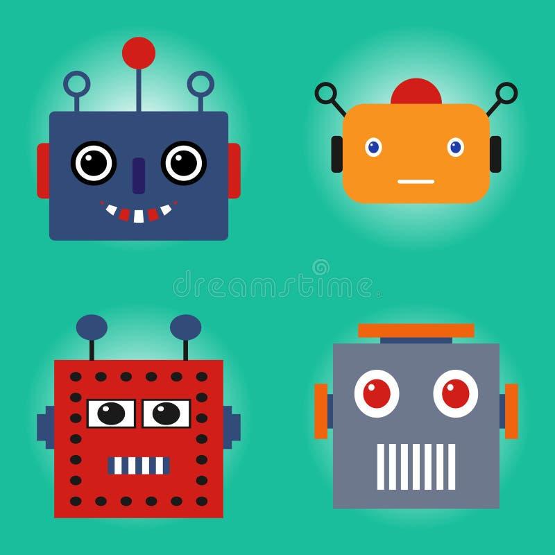 Caras dos robôs ajustadas ilustração stock
