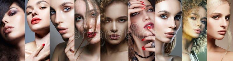 Caras fêmeas diferentes Colagem de mulheres bonitas imagem de stock