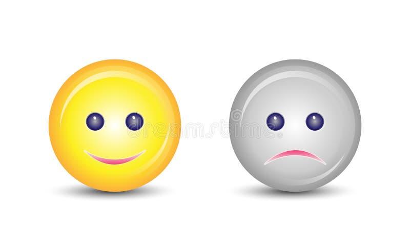 Caras felices y tristes stock de ilustración
