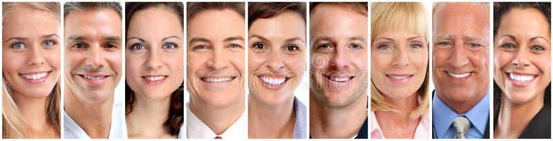 Caras felizes dos povos ajustadas fotografia de stock