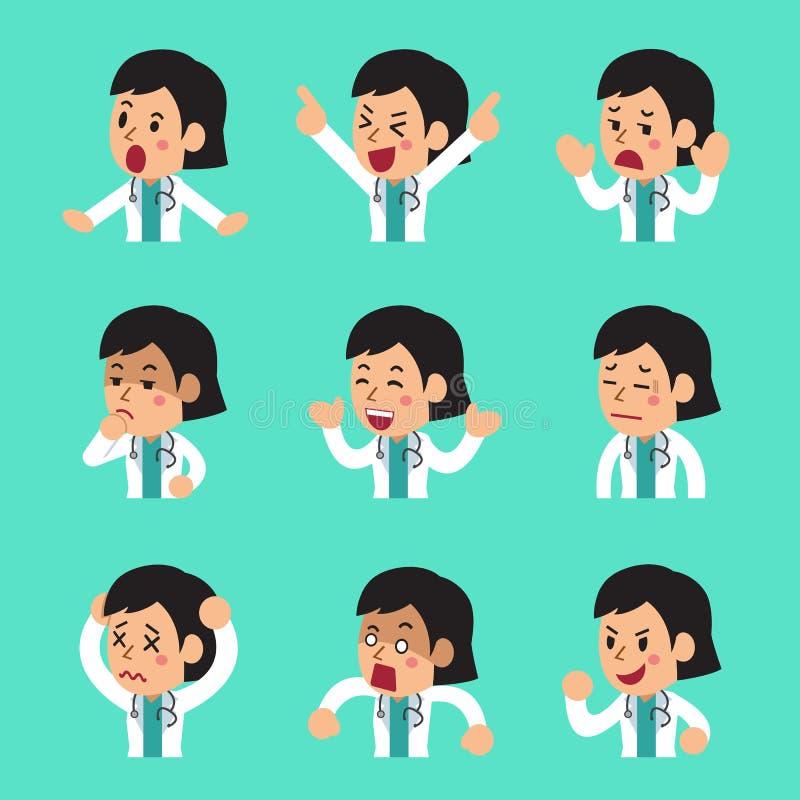 Caras femeninas del doctor de la historieta que muestran diversas emociones fijadas ilustración del vector