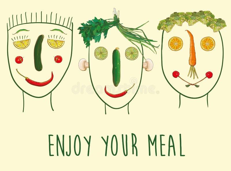 Caras hechas de frutas y verduras stock de ilustración