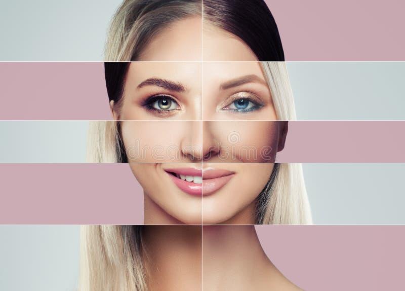 Caras hermosas de la mujer joven Concepto de la cirugía plástica fotografía de archivo
