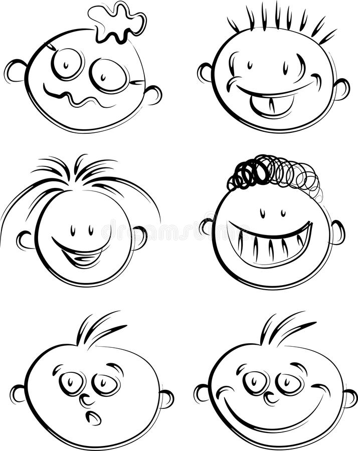 Caras humanas de la historieta stock de ilustración