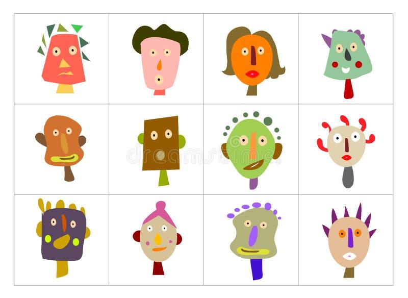 Caras ilustradas ilustración del vector