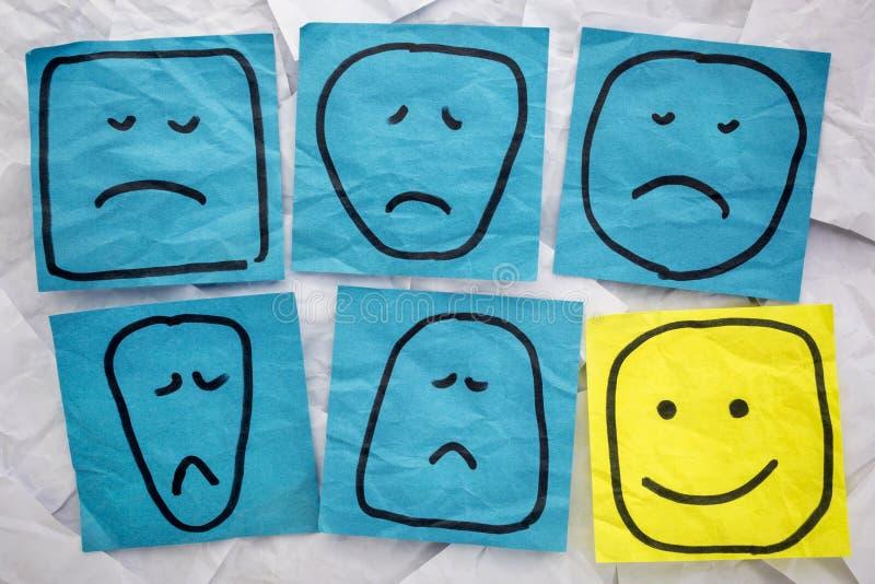 Caras infelices y felices fotografía de archivo