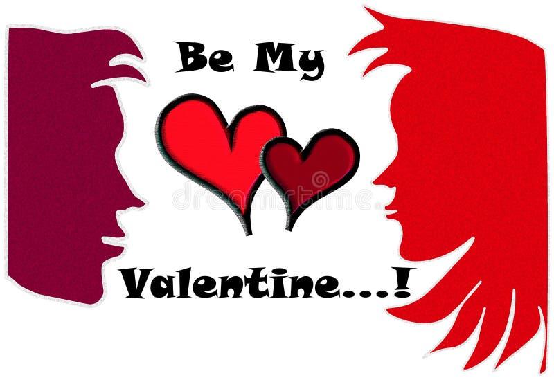 Caras lindas cara a cara de los pares en colores rojos y rojo oscuro con las tarjetas del día de San Valentín wording@tharindu_rc fotos de archivo libres de regalías