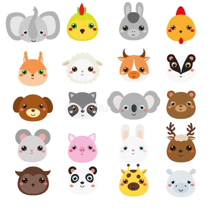 Caras lindas de los animales Sistema grande de iconos de la fauna del kawaii de la historieta y de los animales del campo ilustración del vector