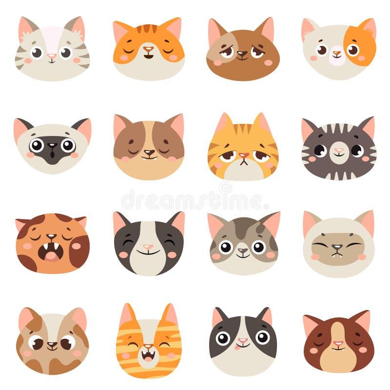 Caras lindas de los gatos Animales felices, boca sonriente del gatito divertido y gato triste gritador Vector animal de la histor libre illustration