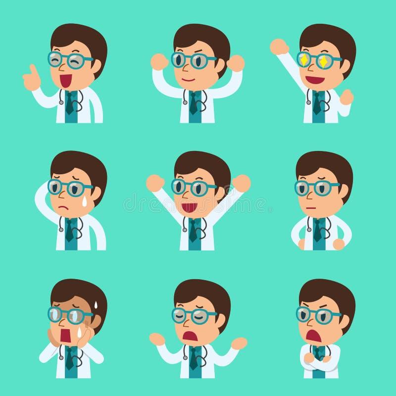 Caras masculinas del doctor de la historieta que muestran diversas emociones stock de ilustración