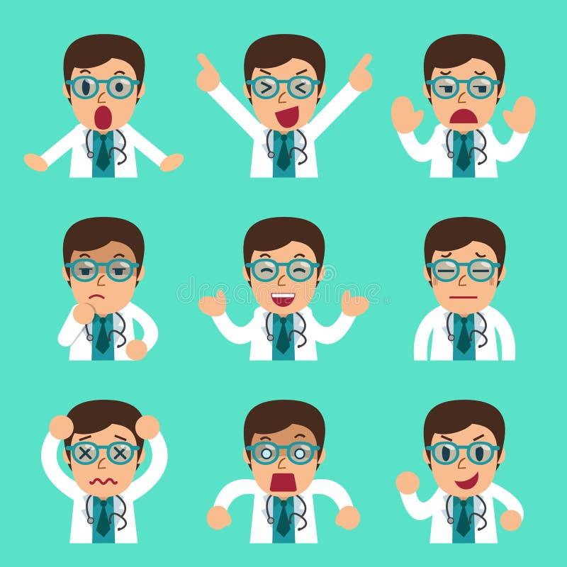 Caras masculinas do doutor dos desenhos animados que mostram emoções diferentes ilustração do vetor