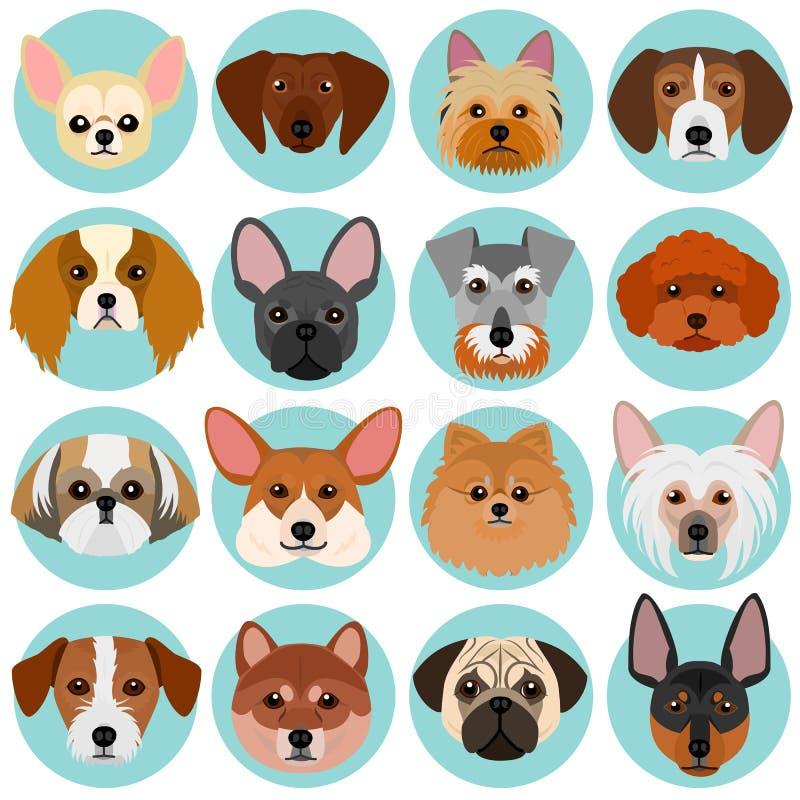 Caras pequenas do cão ajustadas com círculo ilustração royalty free