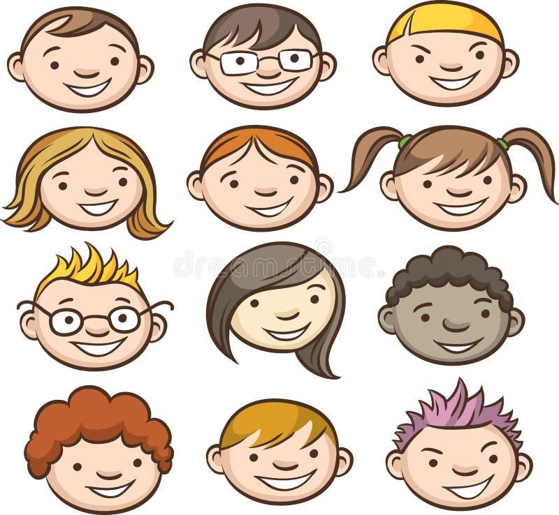 Caras sonrientes de los cabritos stock de ilustración