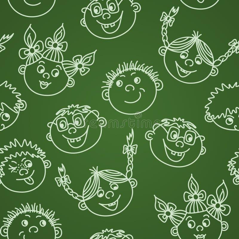 Caras sonrientes de los niños del garabato inconsútil en la pizarra stock de ilustración