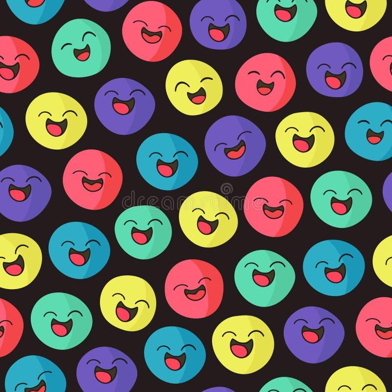 Caras sonrientes - modelo inconsútil stock de ilustración