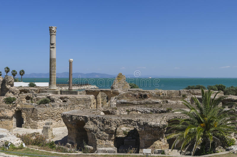 Caratagina in Tunisia. Ruins of Cartagina - monument in Tunisia. Thermes of Antonin stock images