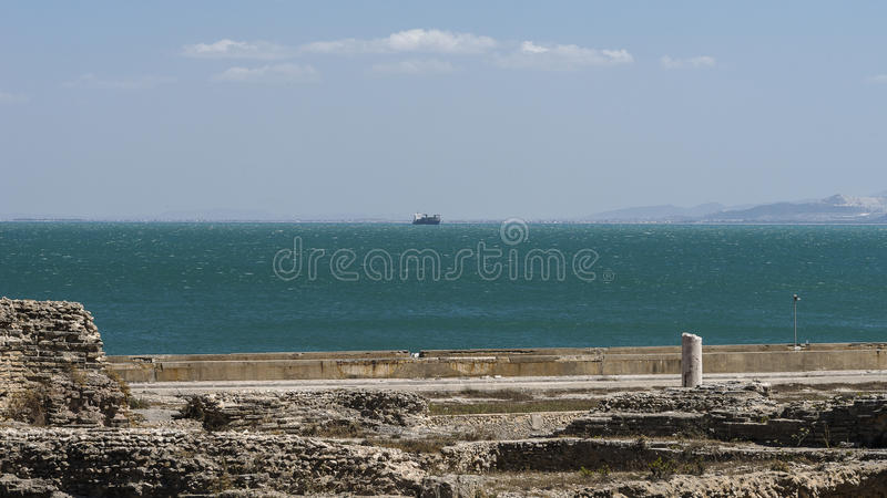 Caratagina in Tunisia. Ruins of Cartagina - monument in Tunisia. Thermes of Antonin stock photo