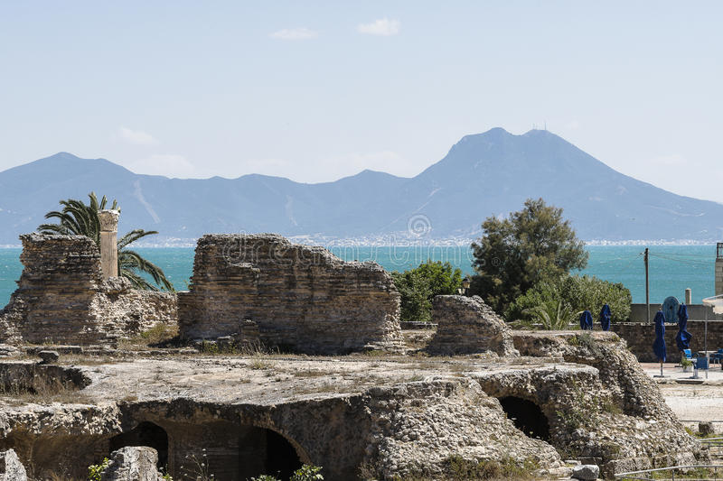 Caratagina in Tunisia. Ruins of Cartagina - monument in Tunisia. Thermes of Antonin royalty free stock photos