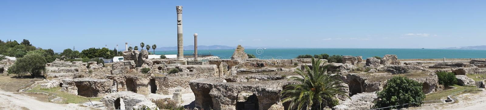 Caratagina in Tunisia. Ruins of Cartagina - monument in Tunisia. Thermes of Antonin. Panoramic photo stock photos