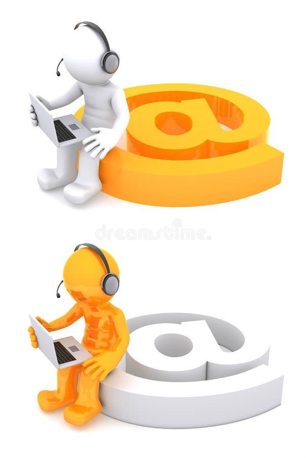 carattere 3D con un segno del email royalty illustrazione gratis