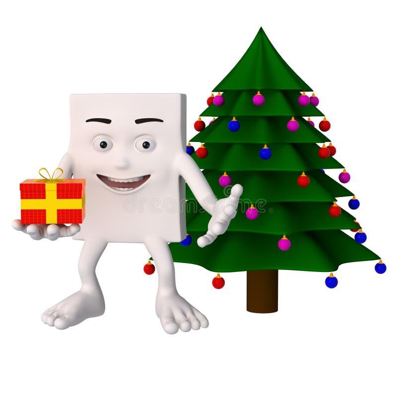 Carattere accanto all'albero di Natale royalty illustrazione gratis