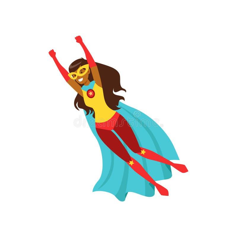 Carattere afroamericano della ragazza vestito come illustrazione di vettore del fumetto di volo dell'eroe eccellente illustrazione di stock