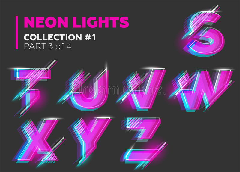 Carattere al neon di vettore composto Lettere d'ardore su buio illustrazione di stock