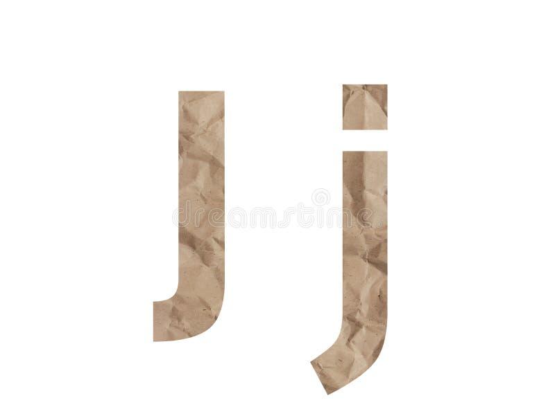 Carattere alfabeto Lettera J Lettring isolato su bianco Effetto testurizzato con carta confezionata sgrossata, ammaccatura per cr fotografia stock
