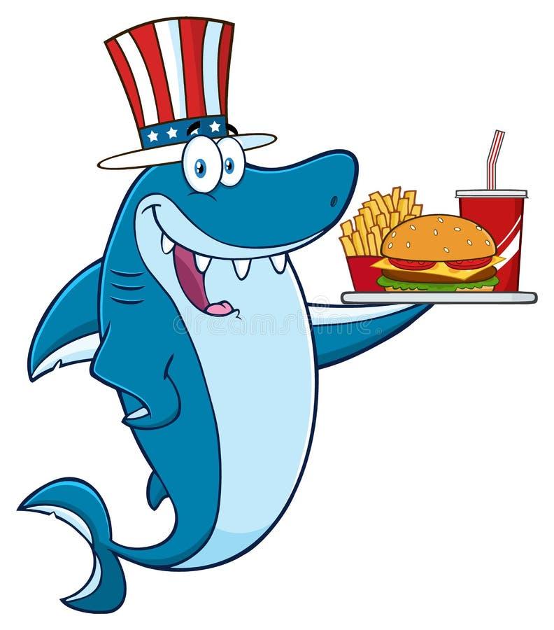 Carattere americano della mascotte del fumetto dello squalo blu con il cappello patriottico che tiene un vassoio con l'hamburger royalty illustrazione gratis