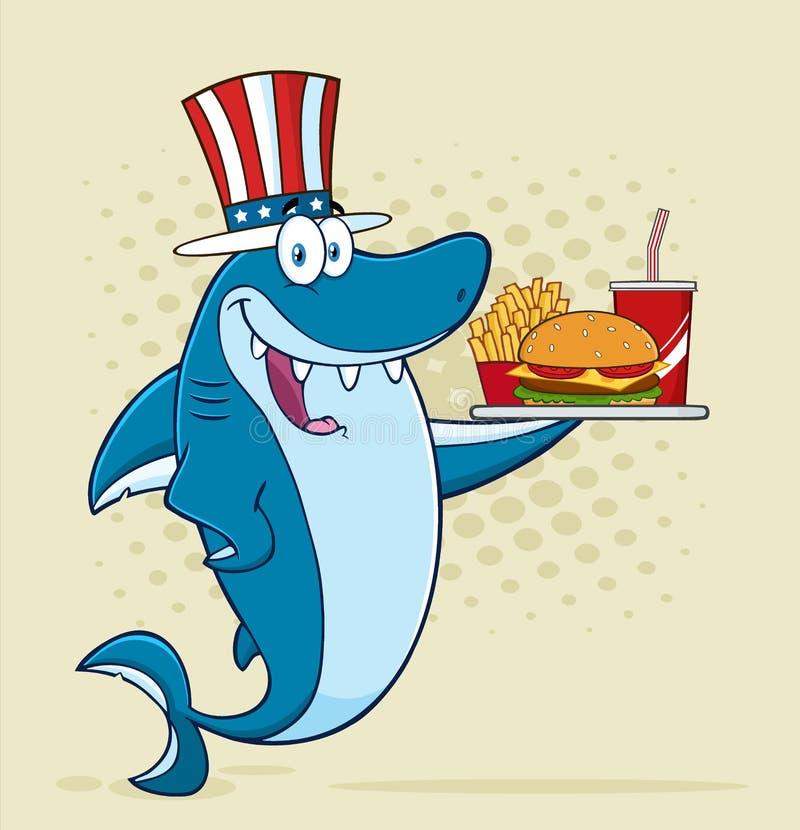 Carattere americano della mascotte del fumetto dello squalo blu con il cappello patriottico che tiene un vassoio con l'hamburger illustrazione di stock