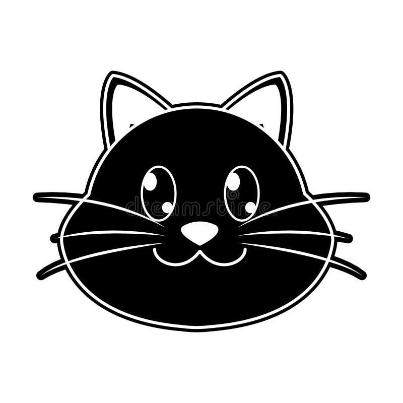 Carattere animale sveglio della testa felice del gatto della siluetta illustrazione di stock