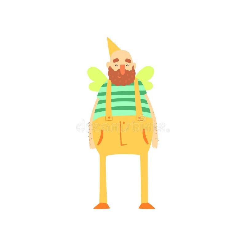 Carattere barbuto grasso strano dell'uomo in costume divertente dell'ape, travestimento pazzo o costume di carnevale, partito cre illustrazione vettoriale