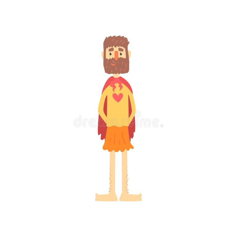 Carattere barbuto strano dell'uomo in costume divertente del supereroe, travestimento pazzo o costume di carnevale, partito creat illustrazione di stock