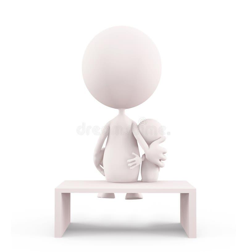 Carattere bianco con l'ubicazione del suo bambino immagine stock