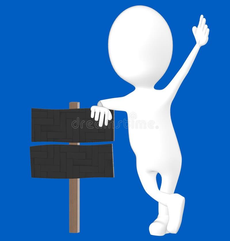 carattere bianco 3d che pende sopra un bordo di legno del segno royalty illustrazione gratis