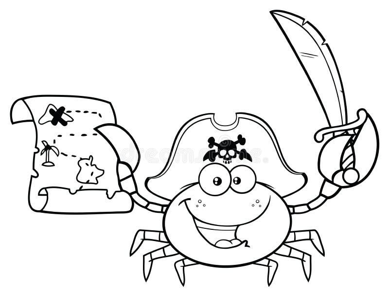 Carattere in bianco e nero della mascotte del fumetto del granchio del pirata che tiene una mappa e una spada del tesoro royalty illustrazione gratis