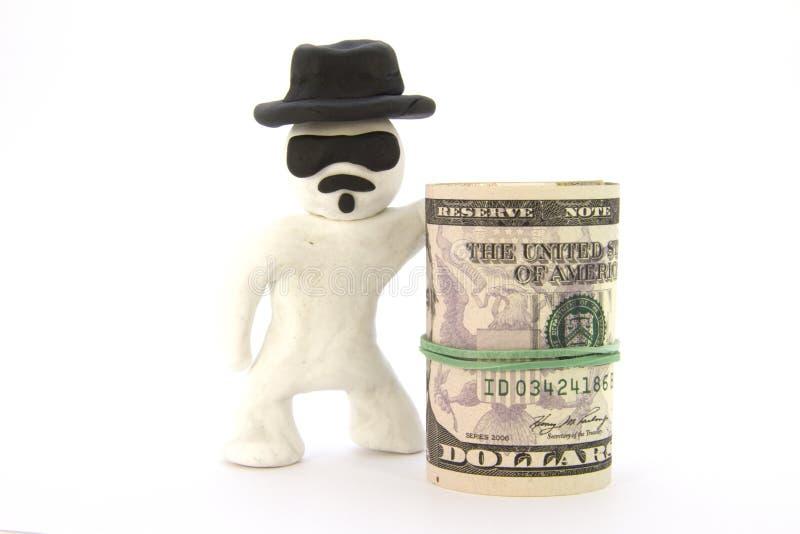 Carattere bianco Heisenberg del plasticine e dollari dei contanti pronti fotografia stock libera da diritti