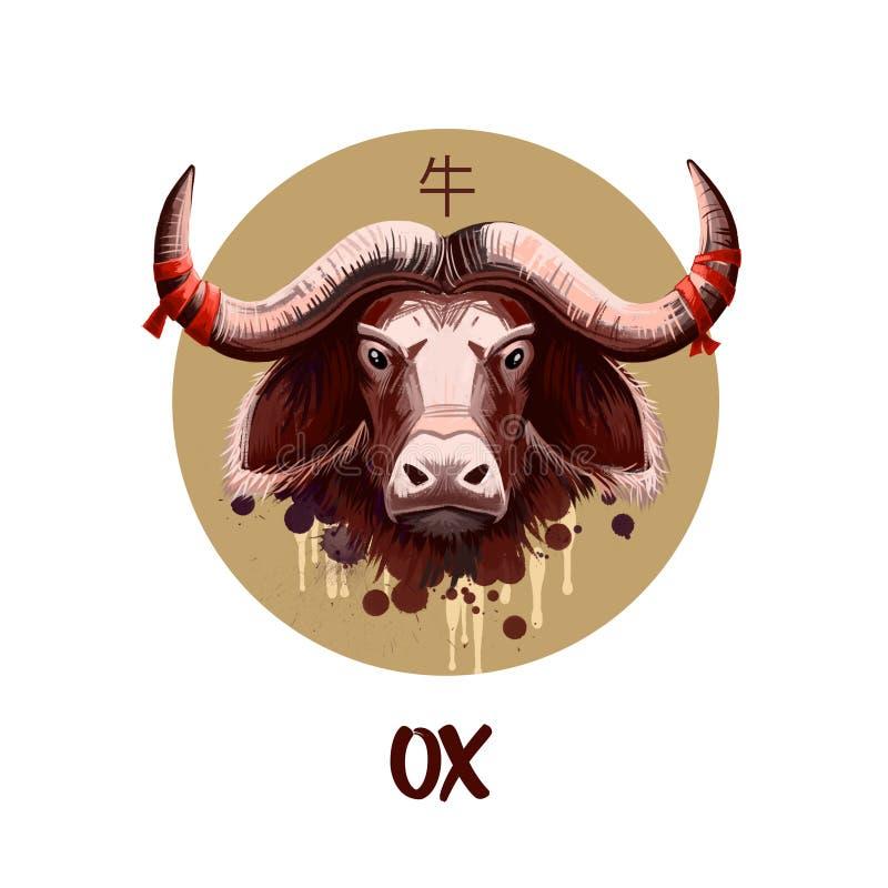 Carattere cinese dell'oroscopo del bue isolato su fondo bianco Simbolo del nuovo anno 2021 Ram o pecore animale nel cerchio roton illustrazione di stock