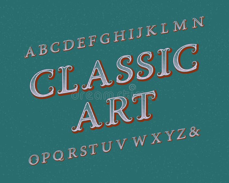 Carattere classico di arte Fonte d'annata Alfabeto inglese isolato royalty illustrazione gratis
