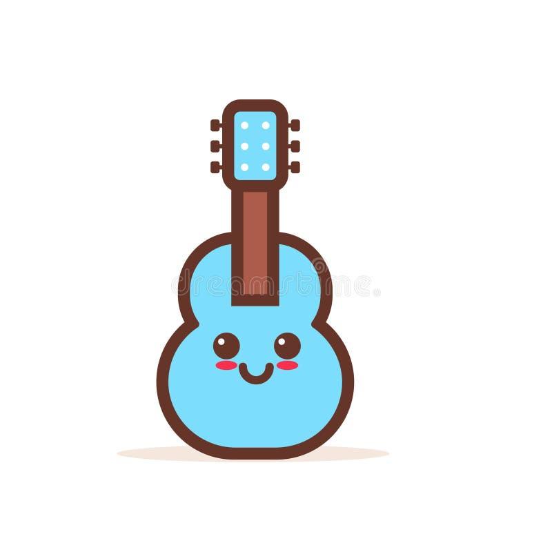 Carattere comico del fumetto di legno classico blu sveglio della chitarra con il musical acustico sorridente di emoji del fronte  illustrazione di stock