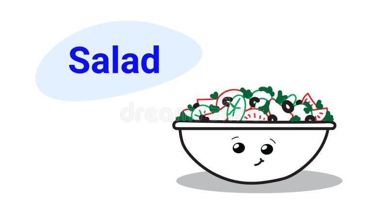 Carattere comico del fumetto di verdure sveglio dell'insalatiera con l'alimento sano sorridente di emoji del fronte di stile dise royalty illustrazione gratis