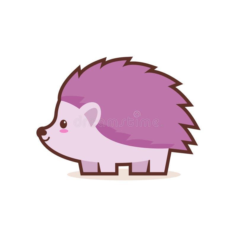 Carattere comico del piccolo fumetto sveglio dell'istrice con gli animali divertenti sorridenti di emoji del fronte di anime di s illustrazione vettoriale