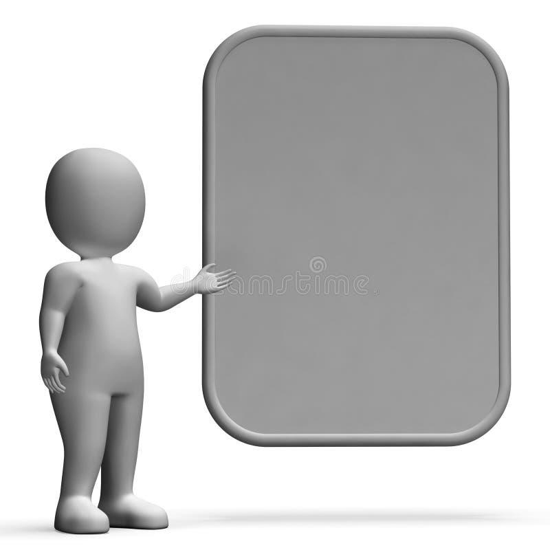 Carattere con il bordo in bianco per il messaggio o la presentazione illustrazione di stock