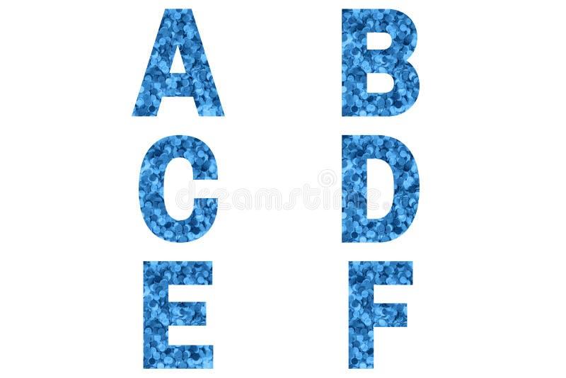 Carattere confetti Alphabet a, b, c, d, e, f di fondo coriandoli blu fotografia stock