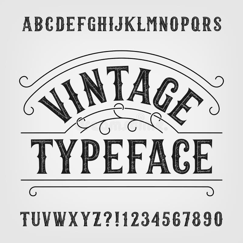 Carattere d'annata Retro fonte di vettore afflitta di alfabeto Lettere e numeri disegnati a mano illustrazione di stock