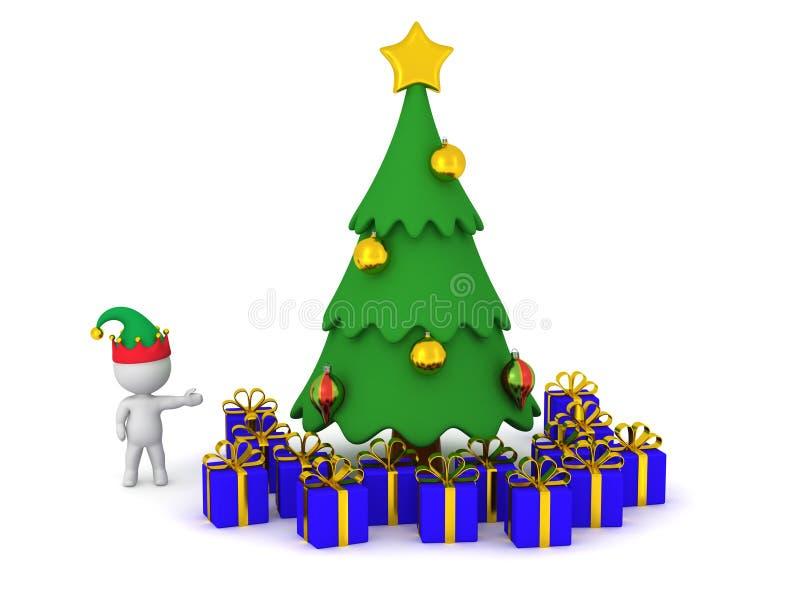 carattere 3D che mostra l'albero di Natale Cartoonish con il regalo avvolto royalty illustrazione gratis